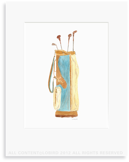 Vintage Blue Golf bag - 8 x 10 Print in 11 x 14 Mat