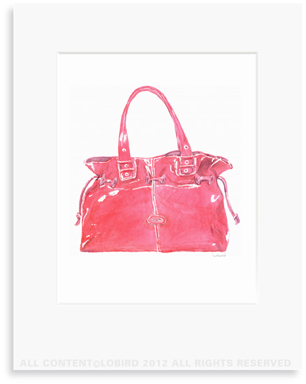 Red Handbag - 8 x 10 Print in 11 x 14 Mat
