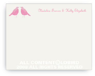 Twin Pink Song Birds - Note cards