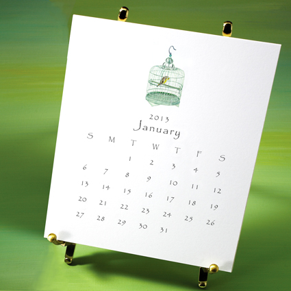 Desktop Calendar Displayed on Solid Brass Easel--Birds & Bird Cage Collection