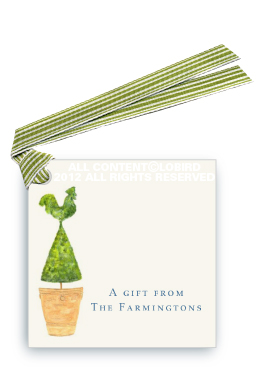 Terra Cotta Pot with Rooster Topiary - Gift Tags