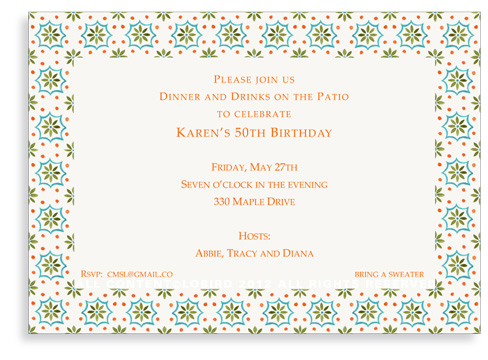 Talavera Tile - Green - Turquoise - Invitations