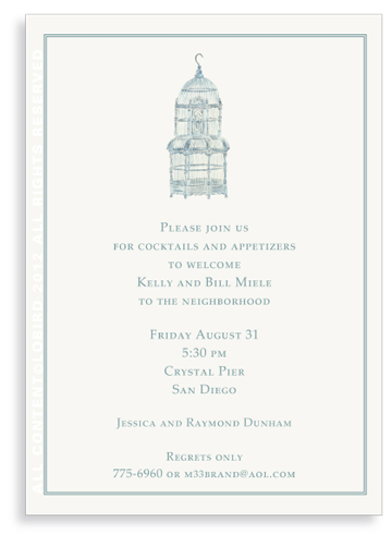 Balinese Blue Bird Cage - Invitations
