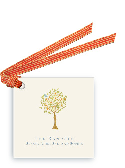 Tangerine Tree with Bird - Gift Tags