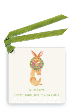 Brown Rabbit with Peony Wreath - Gift Tags