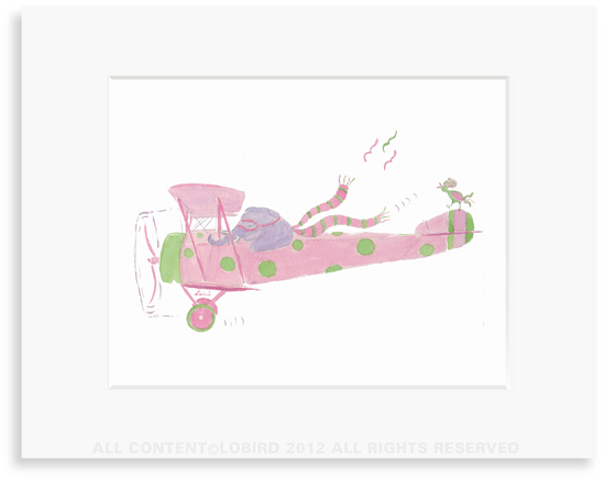 Elephant Flying Plane - 8 x 10 Print in 11 x 14 Mat