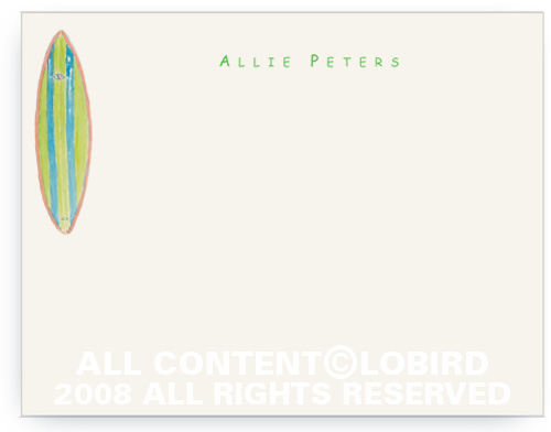 Green Allie Surfboard - Flat Note cards