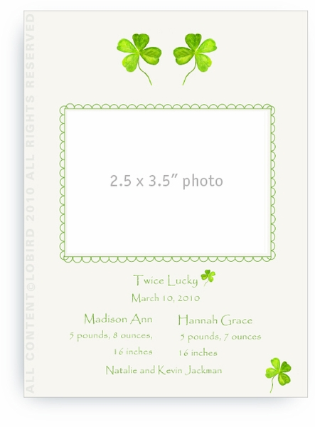Twin Four Leaf Clover - Baby Announcements