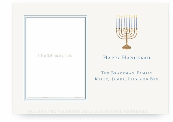 Menorah - Flat Holiday Card- landscape