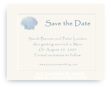 Blue Scallop Sea Shell - Save the Date Cards