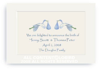 Twins-Flying Blue Storks - Enclosure Cards