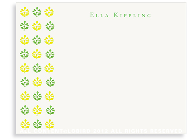 Block Print Tapestry - Green/Yellow - Flat Note cards