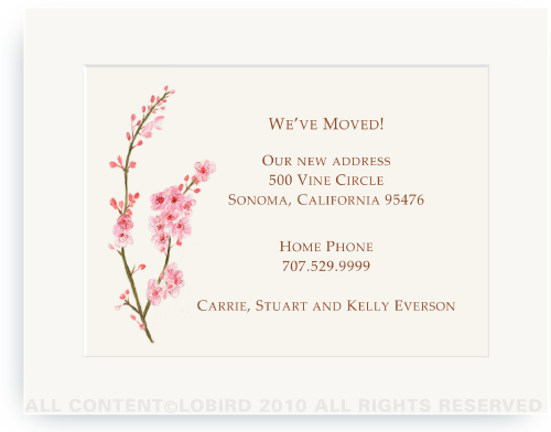Cherry Tree Blossom - Moving Announcements