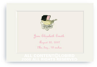 Vintage Baby Carriage Pink - Enclosure Cards