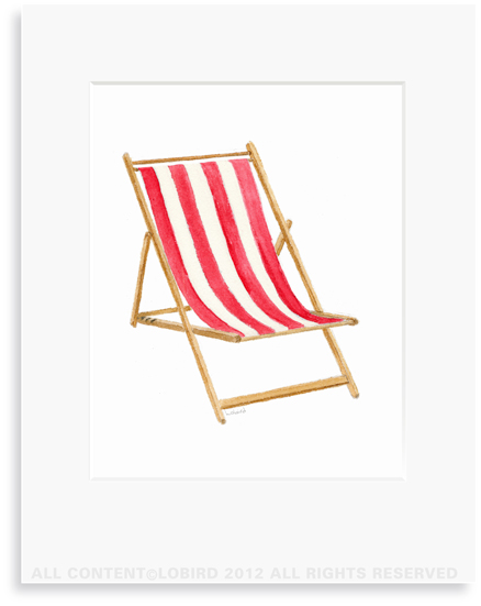 Beach Chair - Red- 8 x 10 Print in 11 x 14 Mat