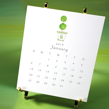 garden desktop calendar with easel