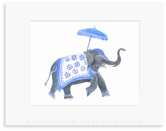 Festive Elephant � Blue/White - 8 x 10 Print in 11 x 14 Mat
