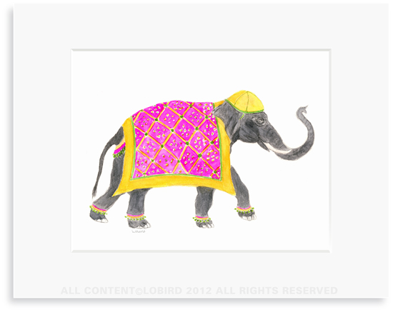 Festive Elephant with Bead Tapestry- 8 x 10 Print in 11 x 14 Mat