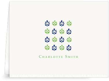 Block Print Tapestry - Midnight Blue/Green - Folded Note Cards