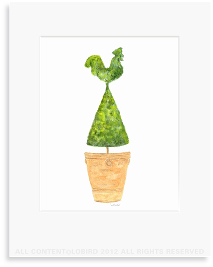 Terra Cotta Pot  with Rooster topiary - 8 x 10 Print in 11 x 14 Mat