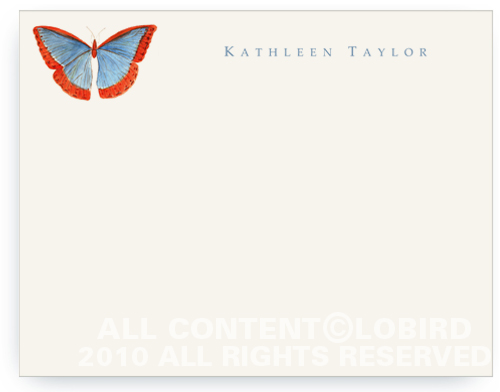 Butterfly - Blue/Red - Flat Note cards