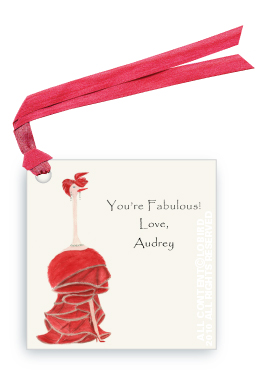 Ostrich in Red Gown - Audrey - Gift Tags