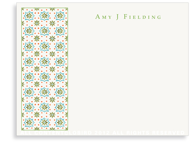 Talavera Tile - Green/Turquoise - Flat Note Cards