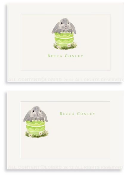 Floppy Bunny in Green Egg - Enclosure Cards