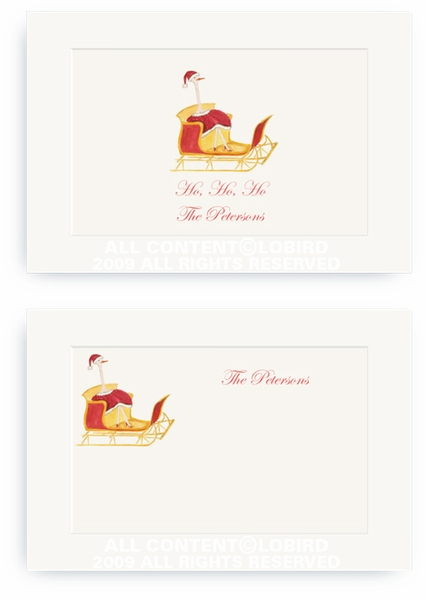 Holiday Ostrich in Sleigh - Enclosure Cards