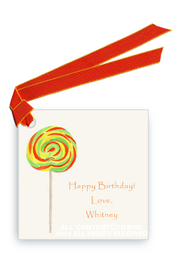 Swirl Lollipop - Green/Orange - Gift Tags