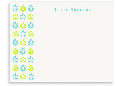 Block Print Tapestry - Turquoise/Lime - Flat Note Cards