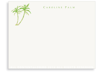 Twin Green Palms - Flat Note cards