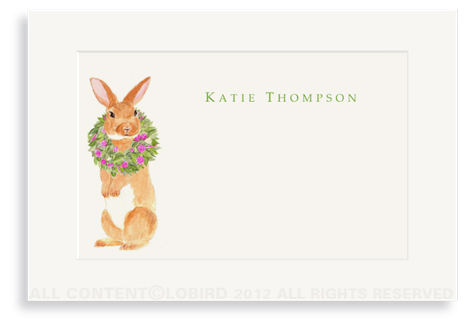 Brown Rabbit with Peony Wreath - Enclosure Cards