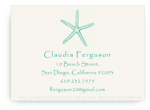 Starfish - Aqua -Calling Cards