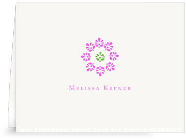 Block Print Flower - Fuchsia/Green - Folded Note Cards