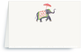 Festive Elephant - Green/Red - Place Cards