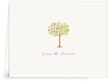 Purple Fruit Tree- folded note cards