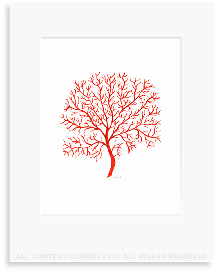 Coral Fan - Red - 8 x 10 Print in 11 x 14 Mat