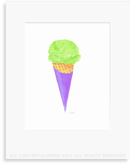 Lime Sherbet Ice Cream Cone  - 8 x 10 Print in 11 x 14 Mat