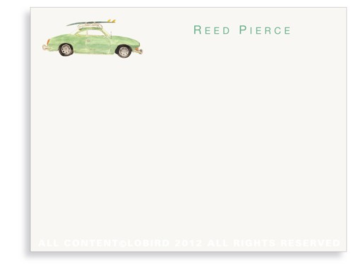 Vintage Surf Car - Flat Note Cards