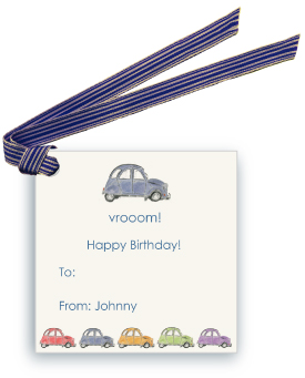 French Village Car (Blue) - Gift Tags