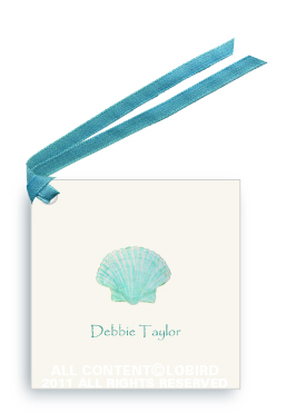 Aqua Green Scallop Sea Shell - Gift Tags