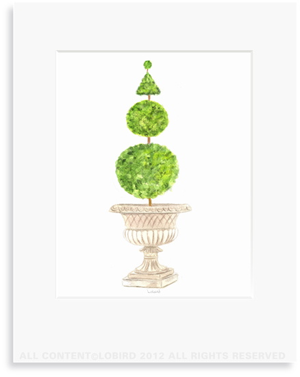 Antique Stone Urn- Multi shape Topiary - 8 x 10 Print in 11 x 14 Mat