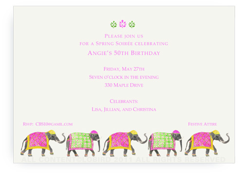 Festive Elephant Spring Parade - Invitations