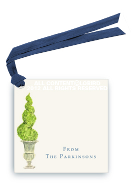 Antique Urn-  Spiral topiary - Gift Tags