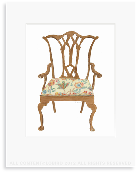 Chippendale Chair - 8 x 10 Print in 11 x 14 Mat