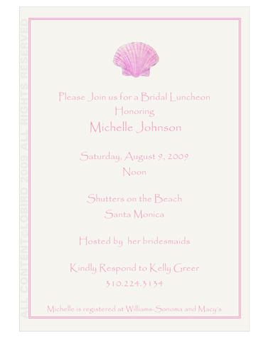 Pink Scallop Sea Shell - Invitations