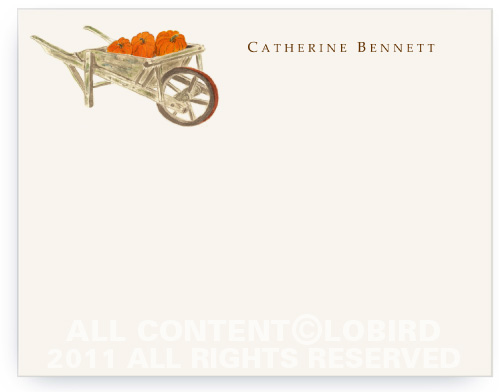 Pumpkins in Wheelbarrow - Flat Note Cards