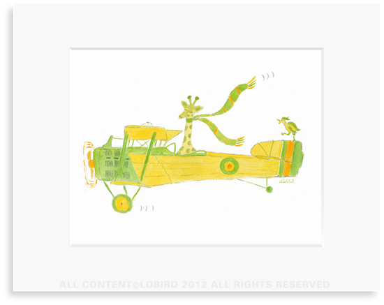 Giraffe Flying Plane - 8 x 10 Print in 11 x 14 Mat