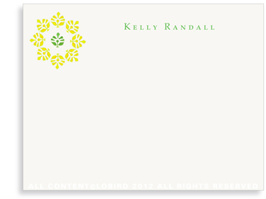 Block Print Flower - Green/Yellow - Flat Note Cards